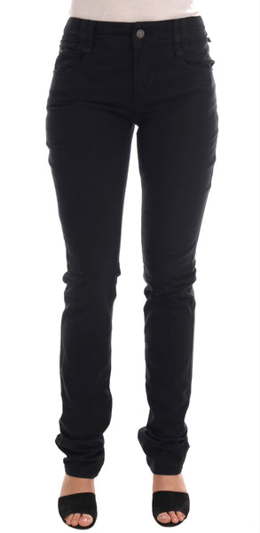 Black Cotton Denim Stretch Regular Fit Jeans
