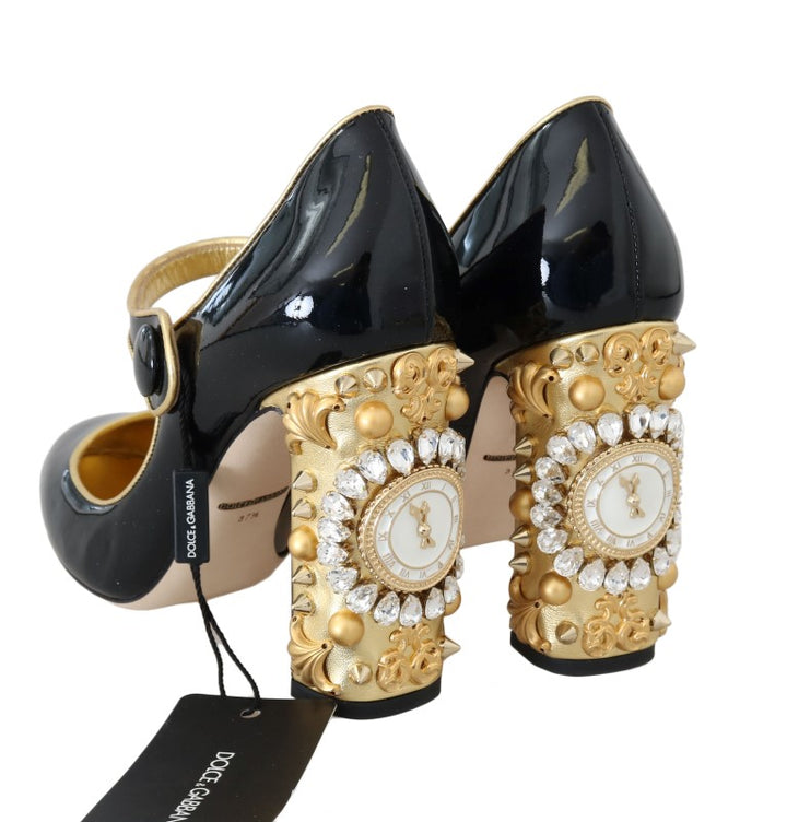 Black Leather Crystal Clock Shoes