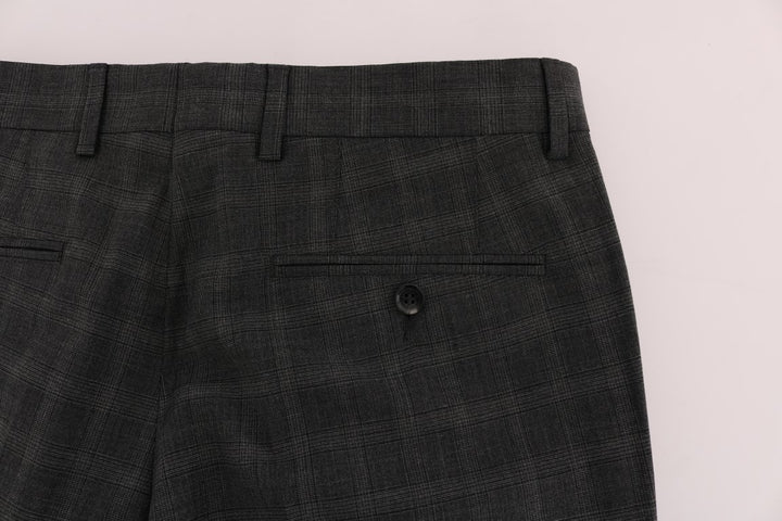 Gray Check Wool Stretch Pants
