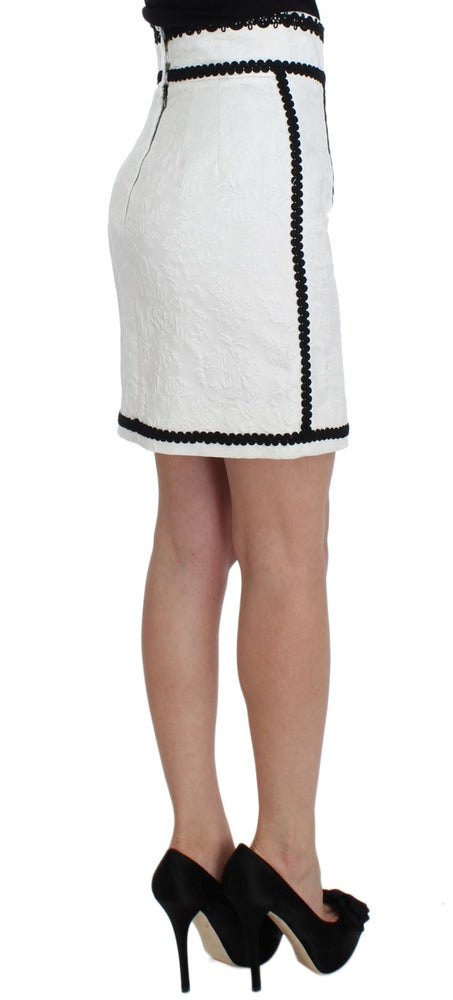 White Brocade Black Torero Pencil Skirt