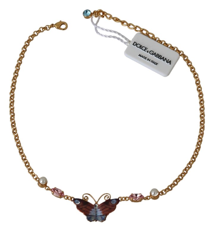 Gold Crystal Floral Butterfly Red Blue Chain  Necklace