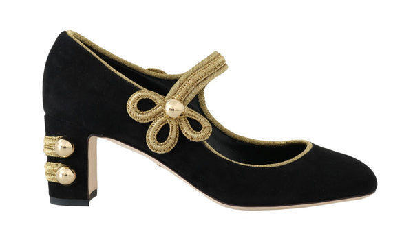 Black Suede Gold Baroque Mary Janes Shoes