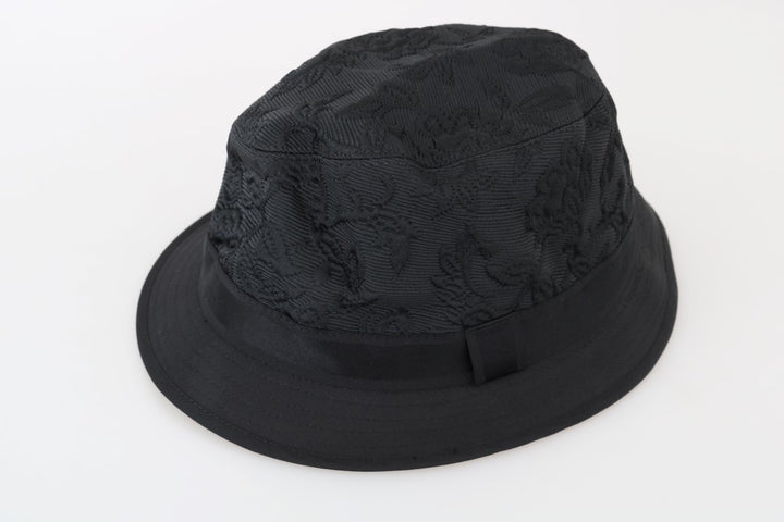 Black Silk Blend Floral Pattern Hat