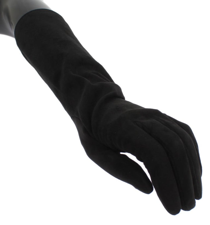 Black Suede Elbow Button Gloves