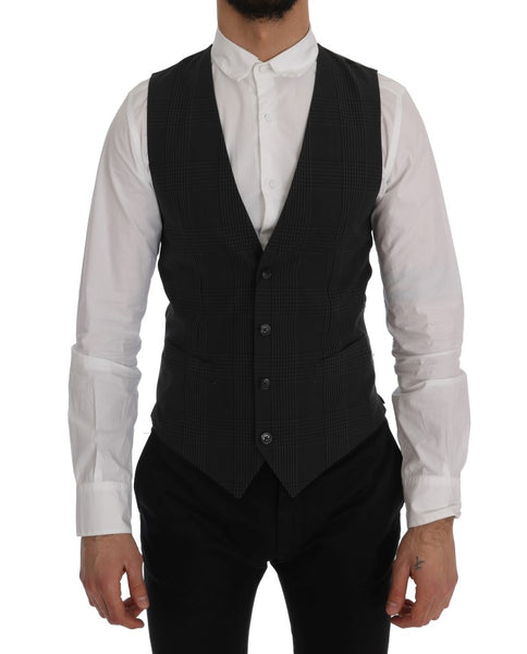 Gray STAFF Cotton Check Vest