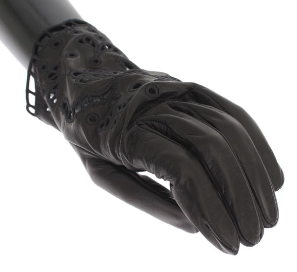 Black Leather Floral Cutout Gloves