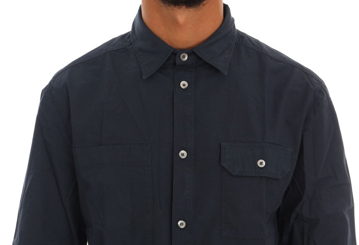 Blue Casual Cotton Long Sleeve Shirt