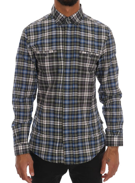 Blue Checkered Cotton Slim Fit Casual Shirt