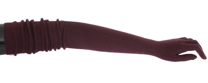 Bordeaux Ribbed Cashmere Elbow Gloves