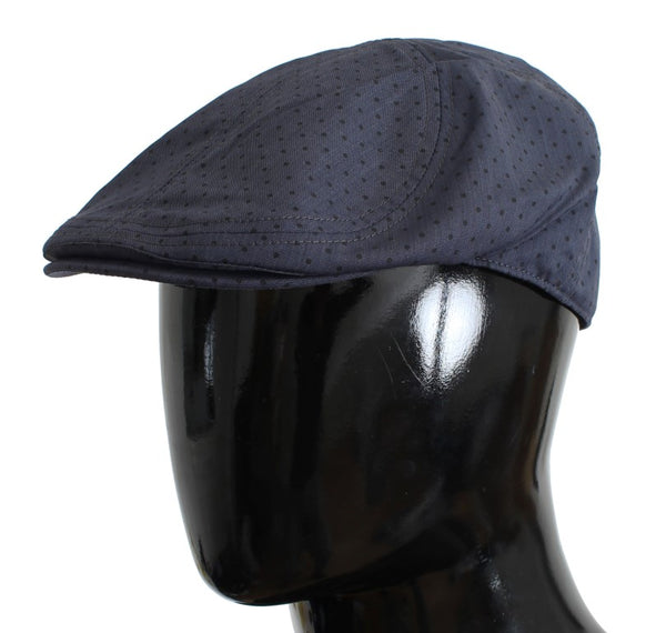 Blue Cabbie Polka Dotted Wool Newsboy Cap