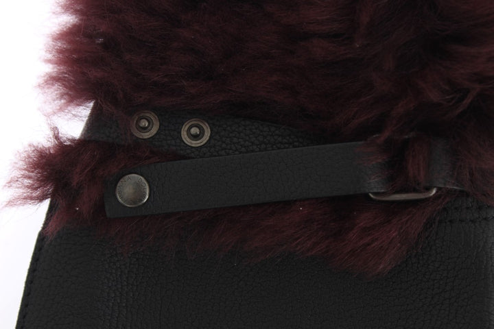 Black Leather Bordeaux Shearling Gloves