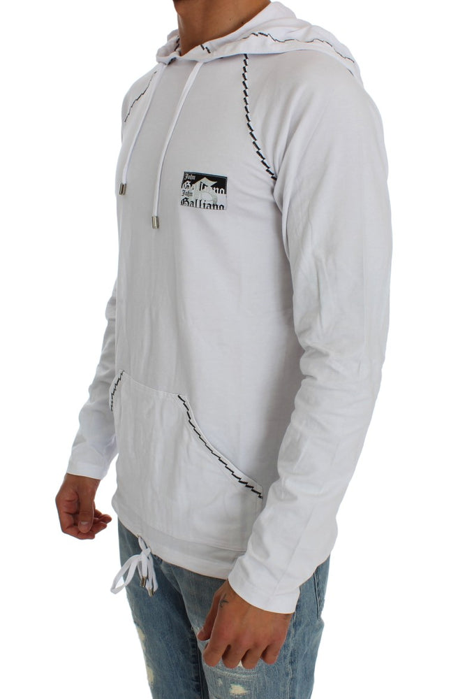 White Cotton Stretch Hooded Sweater