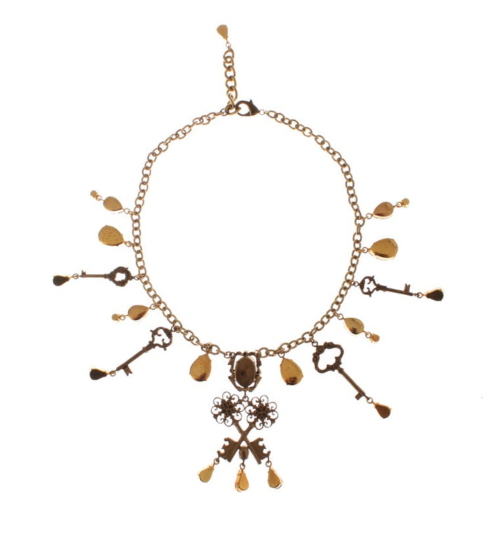 Gold Brass Floral Crystal Sacred Key Charms Necklace