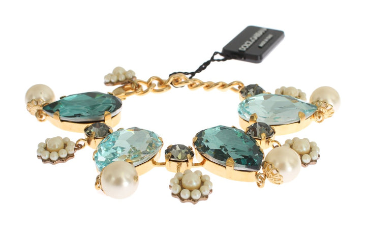 Gold Blue Crystal Pearl Chain Statement Bracelet