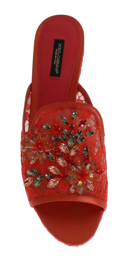 Red Lace Crystal Mules Wedge Sandal Shoes