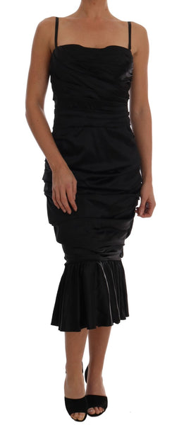 Black Mermaid Ruched Gown Dress