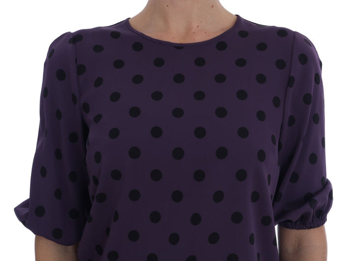 Purple Polka Dotted Silk Blouse