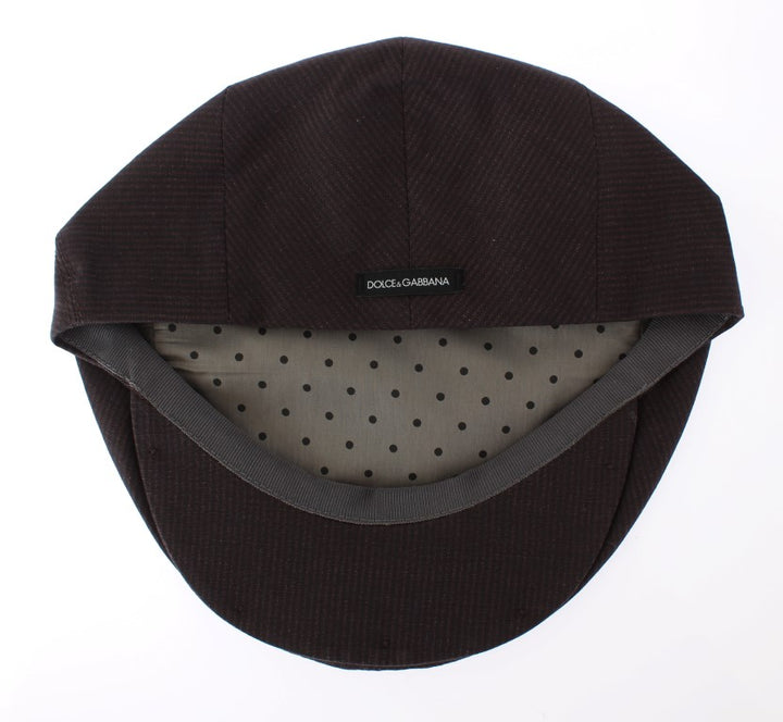 Brown Striped Newsboy Cap