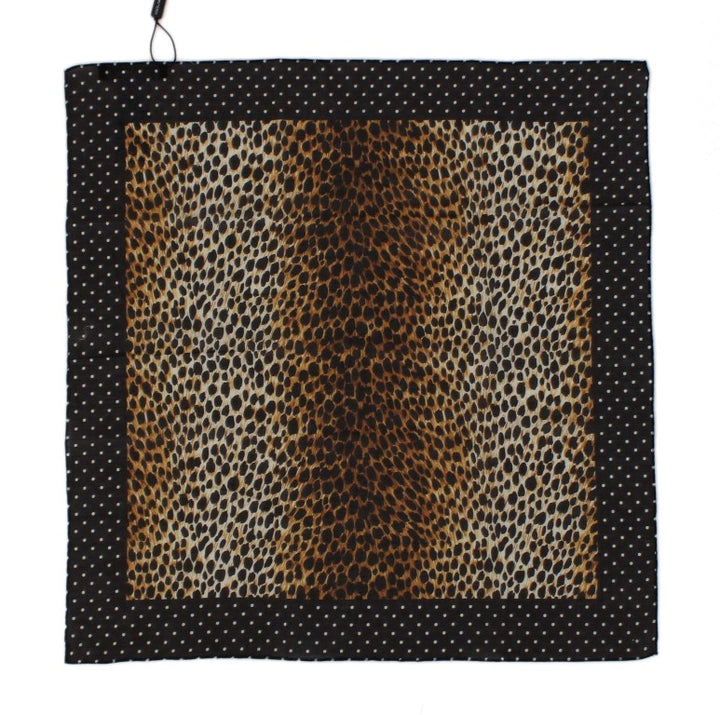 Brown Leopard Print Cotton Scarf