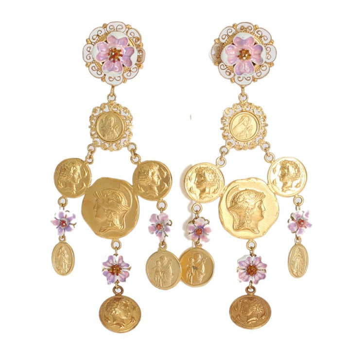 Gold Brass Floral Coins Dangling Clip On Earrings