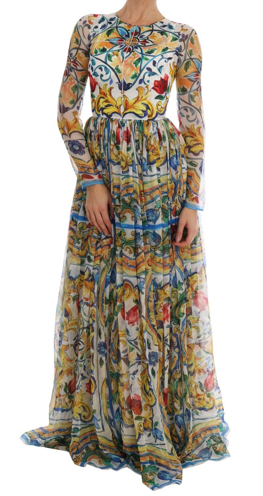 Multicolor Majolica Print Silk A-line Dress