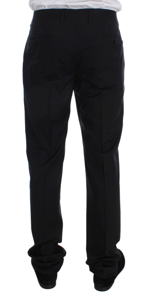 Black Wool Silk Formal Dress Pants