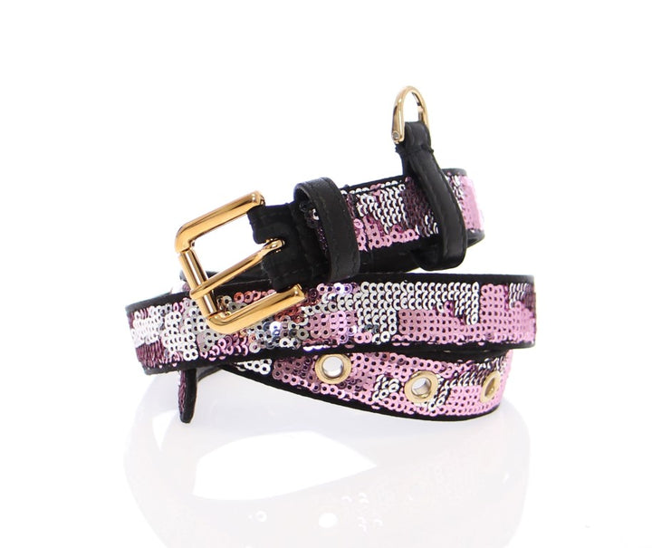 Purple Silk Sequined Logo Belt