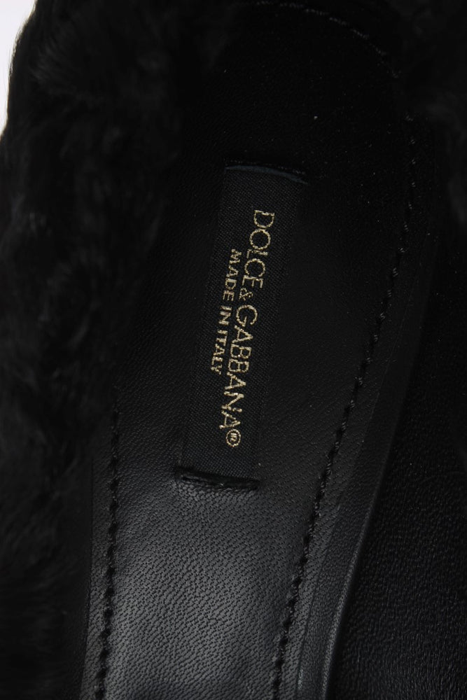 Black Xiangao Lamb Fur Leather Pumps