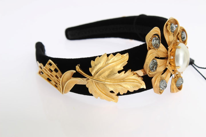 Black Velvet Crystal Gold Tiara Headband