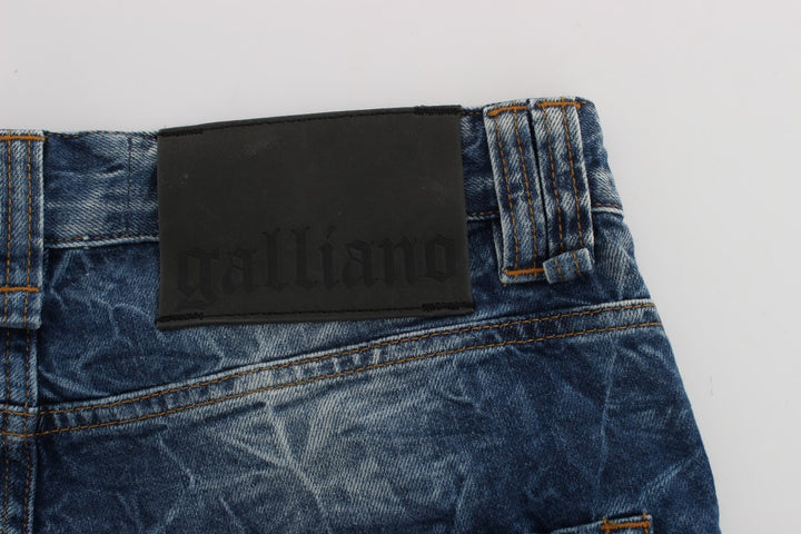 Blue Washed Slim Fit Logo Jeans