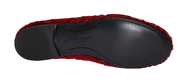 Red Leather Lamb Fur Loafers