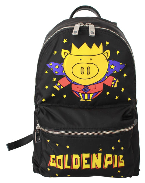 Black Golden Pig of the Year School Backpack