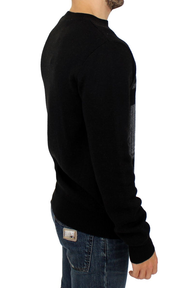 Black knitted wool sweater