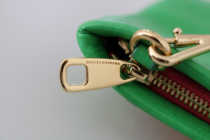Green Leather Heart Crystal Clutch Bag