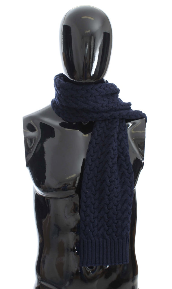 Blue Knitted Wool Scarf