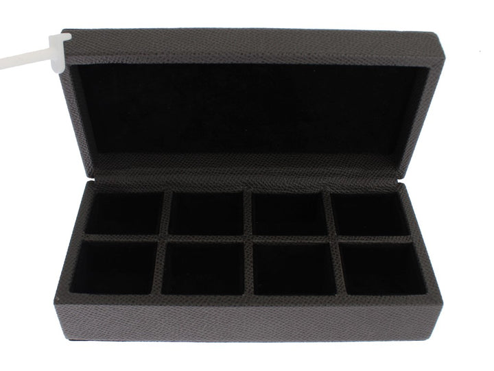 Gray Leather Ring Cufflinks Organizer Box Cover Case