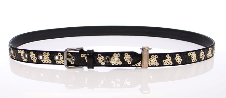 Black Silk Sequined Logo Belt