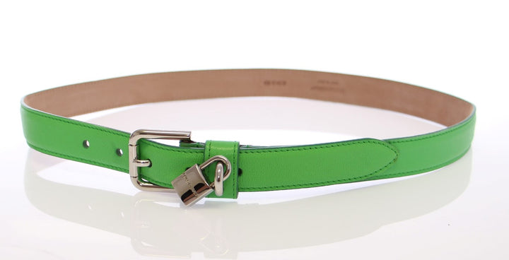 Green Leather Silver Lock Logo Belt