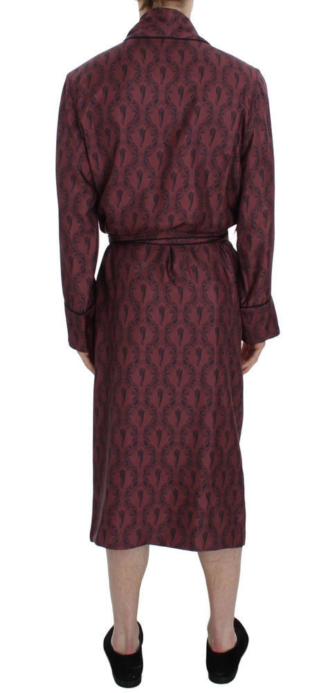 Bordeaux Crown Baroque Silk Sleepwear Robe