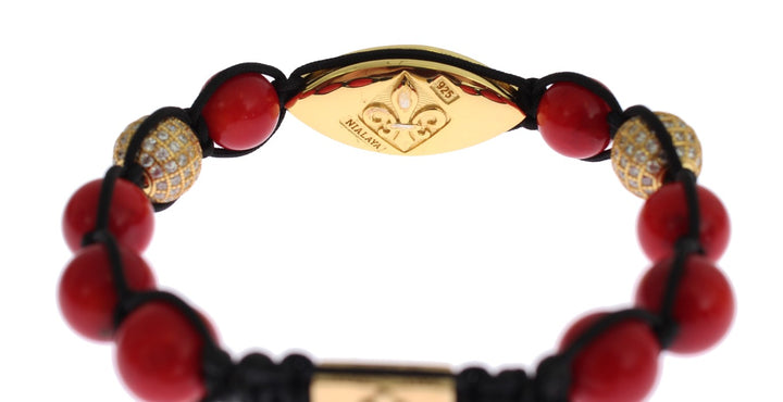 Women CZ Red Coral Gold 925 Silver Bracelet