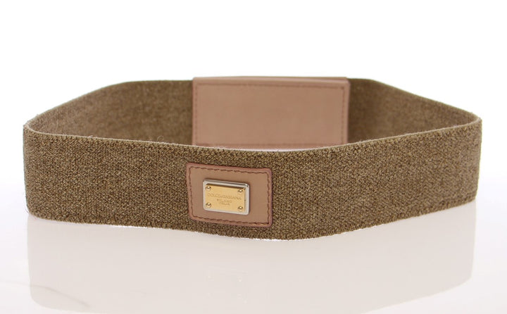 Beige Cotton Linnen Logo Belt