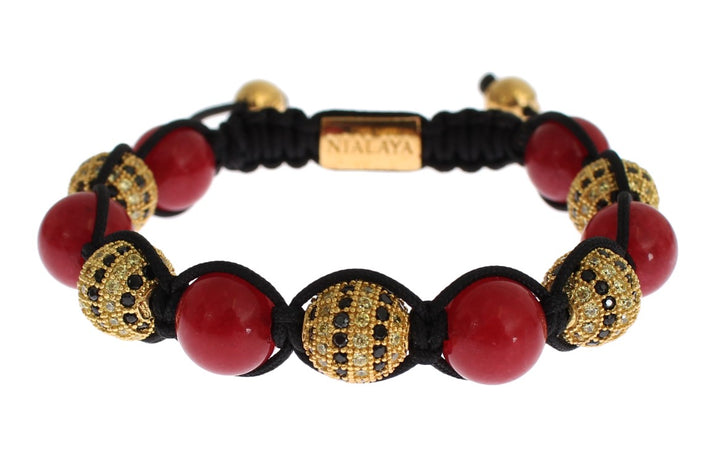 CZ Red Coral Gold 925 Silver Bracelet