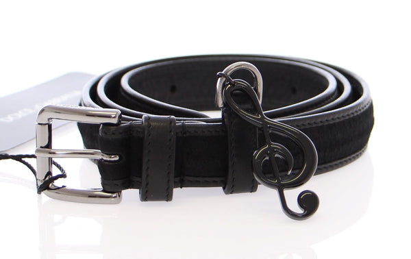 Black Leather Fur Logo Belt