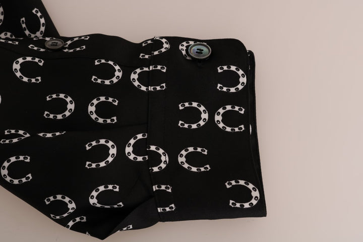 Black Horseshoe Print Shirt