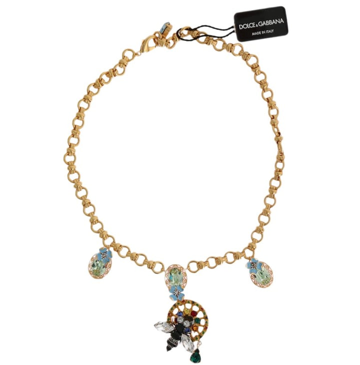 Gold Brass Crystal Carretto Charms Necklace