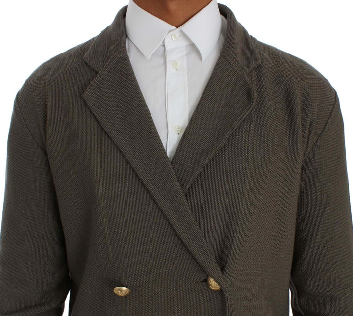 Gray Double Breasted Regular Fit Blazer