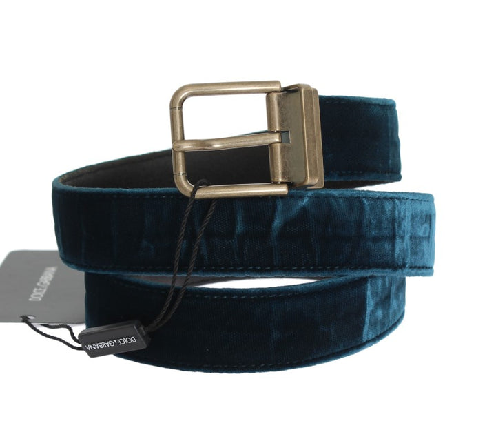 Blue Green Viscose Leather Belt
