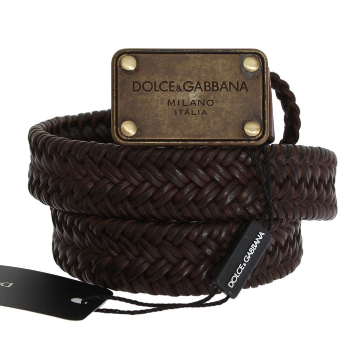Brown Woven Leather Gold Buckle Belt