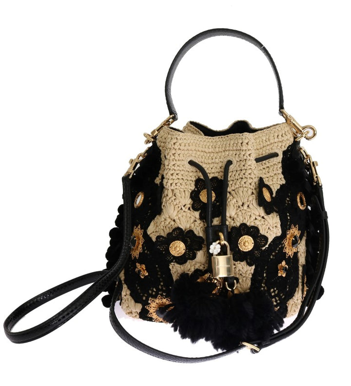 Black Beige Crystal Bucket Snakeskin Straw Bag