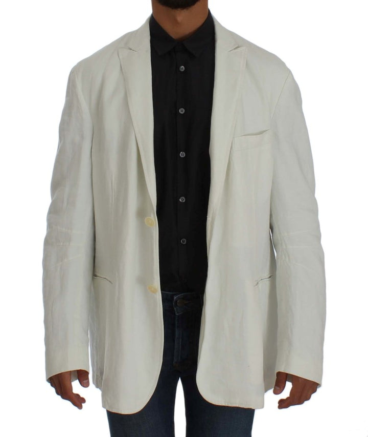 White Linen Regular Fit Blazer Jacket